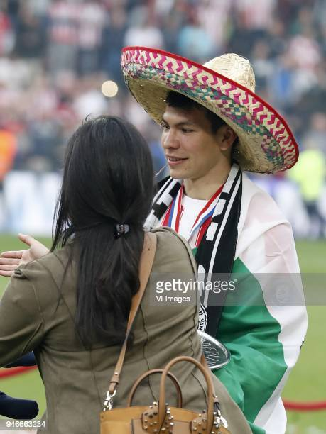 Ana Obregon Hirving Lozano of PSV with sombrero during the Dutch Eredivisie match between PSV Eindhoven and Ajax Amsterdam at the Phillips stadium on...