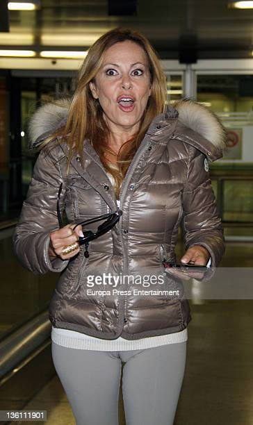 Ana Obregon is seen at Barajas airport on December 18 2011 in Madrid Spain
