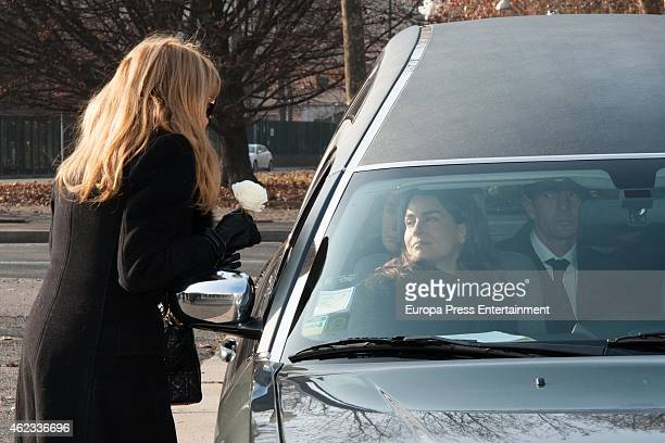 Ana Obregon Maria Palacios and Alessandro Lequio attend the funeral service for Princess Sandra Torlonia grand daughter of King Alfonso XIII of Spain...