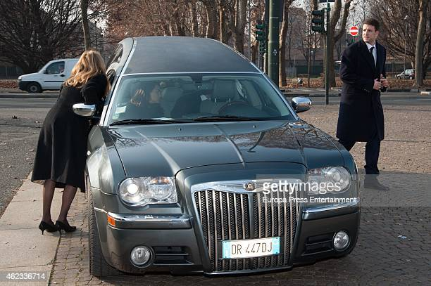 Ana Obregon Maria Palacios and Alex Lequio attend the funeral service for Princess Sandra Torlonia grand daughter of King Alfonso XIII of Spain on...