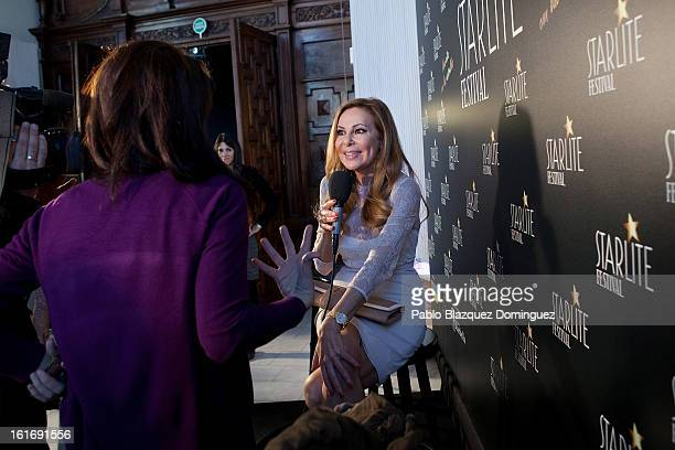 Ana Obregon speaks to press during Starlite presentation at Cibeles Palace on February 14 2013 in Madrid Spain