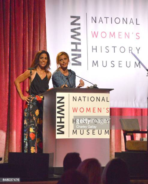 Ana Ortiz and Brianna Brown speak onstage at the Women Making History Awards at The Beverly Hilton Hotel on September 16 2017 in Beverly Hills...