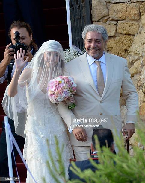 Ana Ortiz arrives with her father to attend her wedding to Andres Iniesta at the Castillo de Tamarit on July 8 2012 in Tarragona Spain