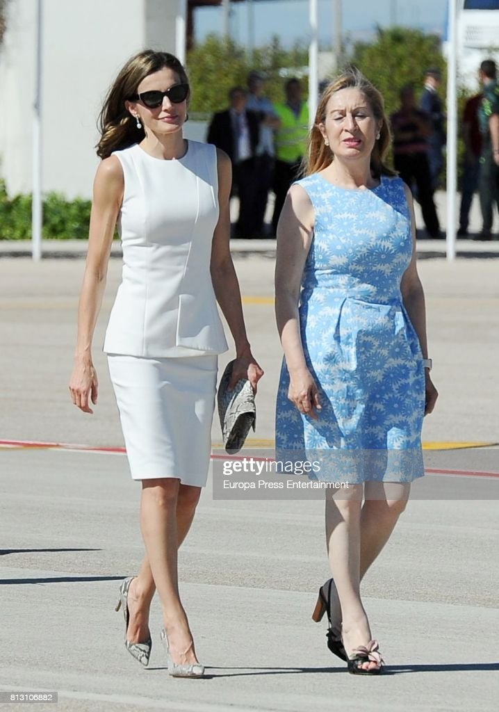 Ana Pastor (R) and Queen Letizia of Spain depart from Barajas Airport at Barajas Airport on July 11, 2017 in Madrid, Spain.
