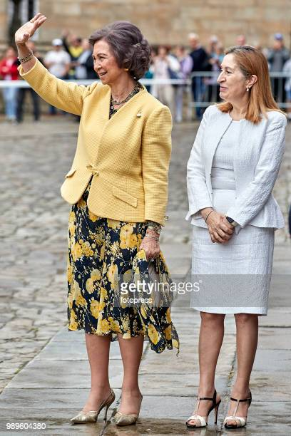 Ana Pastor and Queen Sofia inaugurate the conservation and restoration project of the arcade of Santiago's Cathedral on July 2 2018 in Santiago de...