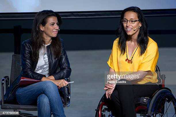 Ana Pastor and Teresa Perales attend a press conference as she is announced as the new Fundacion Telefonica ambassador on May 14 2015 in Madrid Spain