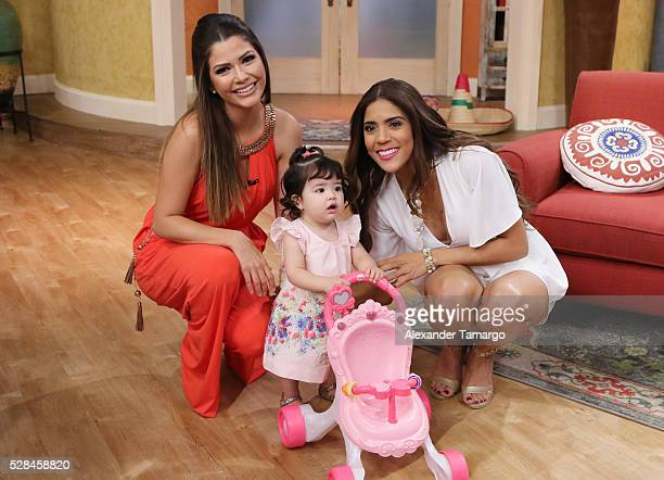 Ana Patrica Gamez and Francisca Lachapel are seen with Ana's daughter Giulietta on the set of 'Despierta America' at Univision Studios on May 5 2016...