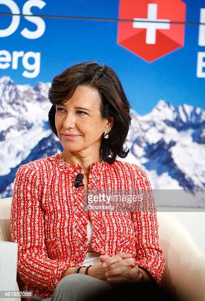 Ana Patricia Botin chairman of Banco Santander SA pauses during a session on day two of the World Economic Forum in Davos Switzerland on Thursday Jan...