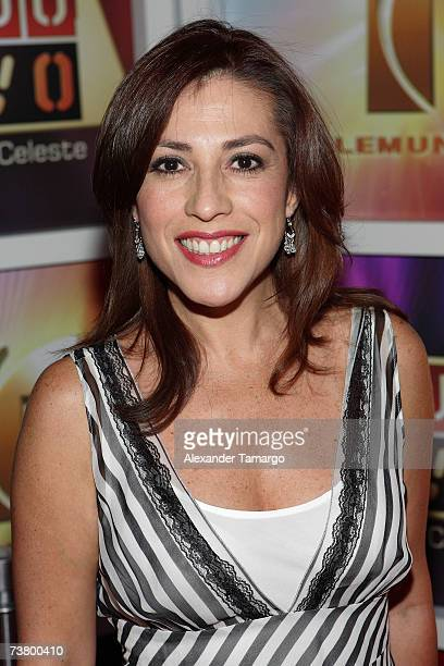 Ana Patricia Candiani poses on the red carpet during arrivals for Maria Celeste Arraras' 5 year anniversary of Al Rojo Vivo party at Karu and Y on...