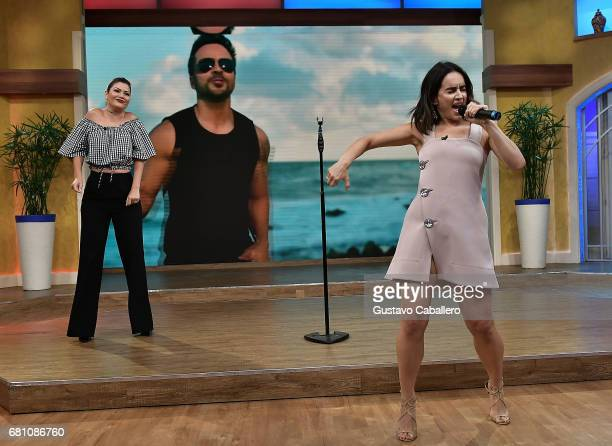 Ana Patricia Gamez and actress Anabell Gardoqui 'Ana' de la Reguera are seen on the set of 'Despierta America' at Univision Studios on May 9 2017 in...