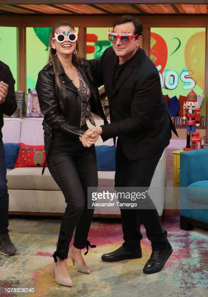 Ana Patricia Gamez and Bob Saget are seen on the set of Despierta America at Univision Studios to promote the Netflix series Fuller House on December...