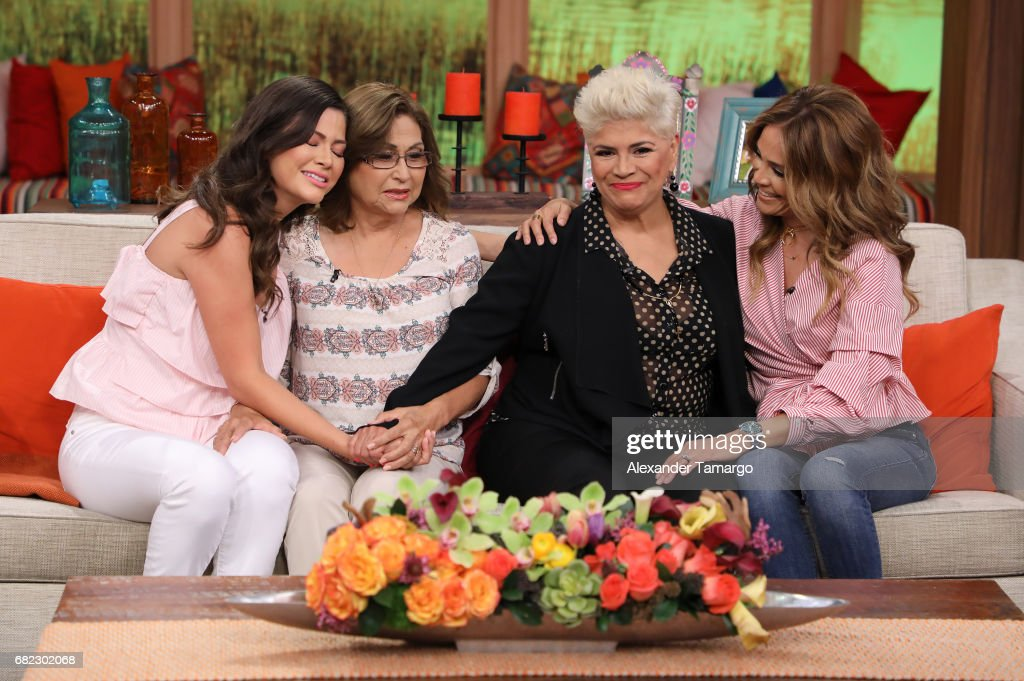 Ana Patricia Gamez and Karla Martinez are seen with their mothers on the set of 'Despierta America' to promote the film 'Baywatch' at Univision Studios on May 12, 2017 in Miami, Florida.