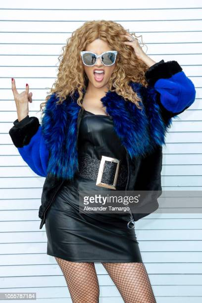Ana Patricia Gamez is seen dressed as Paulina Rubio on the set of 'Despierta America' at Univision Studios on October 31 2018 in Miami Florida