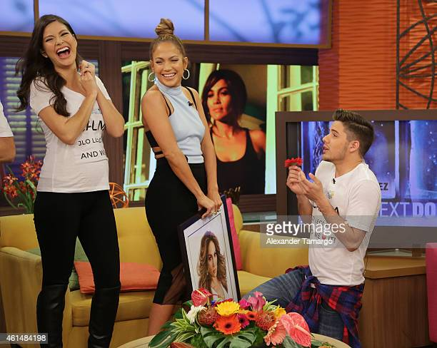 Ana Patricia Gamez Jennifer Lopez and William Valdes are seen on the set of Despierta America to promote film The Boy Next Doorat Univision...