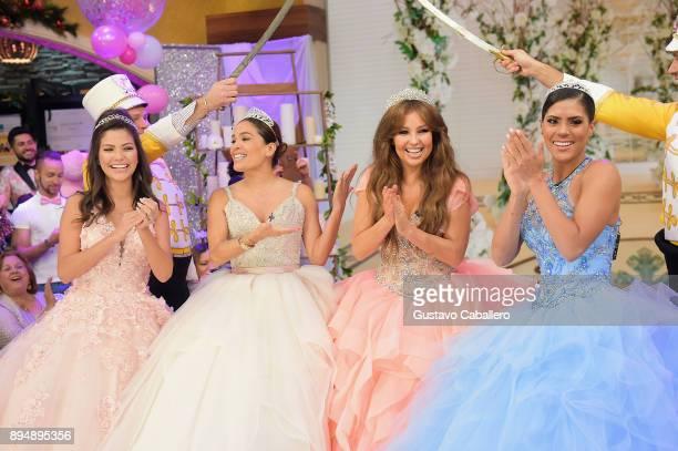 Ana Patricia Gamez Karla Martinez Thalia and Francisca Lachapel are seen on the set of 'Despierta America' at Univision Studios on December 18 2017...