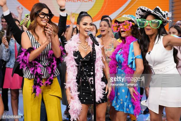 Ana Patricia Gamez Natti Natasha Karla Martinez and Francisca Lachapel are seen on the set of Despierta America at Univision Studios on May 9 2019 in...