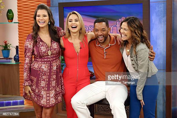 Ana Patricia Gamez Ximena Cordoba Will Smith and Karla Martinez are seen on the set of Despierta America to promote his film 'Focus' at Univision...