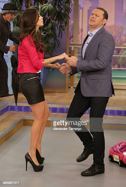"""Ana Patricia Gonzalez and Alan Tacher are seen on the set of Univision's """"Despierta America"""" promoting the movie """"Pompeii"""" at Univision Headquarters..."""