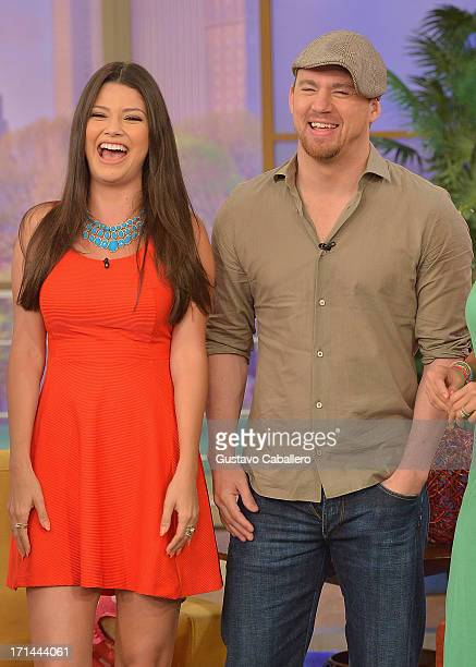 Ana Patricia Gonzalez and Channing Tatum appear on Univision's 'Despierta America' to promote film 'White House Down' at Univision Headquarters on...