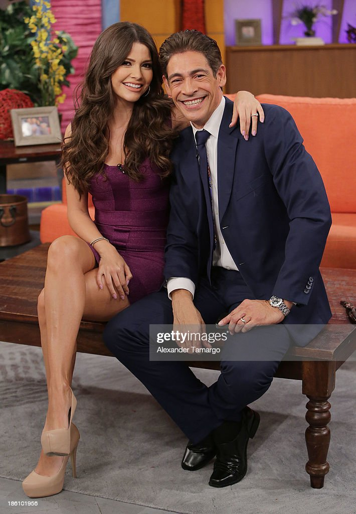Ana Patricia Gonzalez and Johnny Lozada are seen on the set of Despierta America for simulcast with 'Good Morning America' and Fusion's the Morning Show' at Univision Headquarters on October 28, 2013 in Miami, Florida.