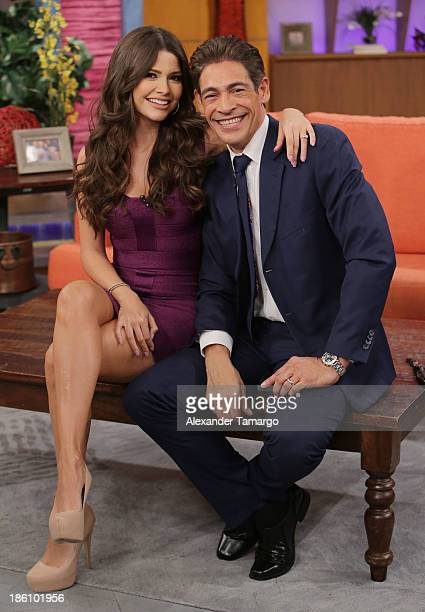"""Ana Patricia Gonzalez and Johnny Lozada are seen on the set of Despierta America for simulcast with """"Good Morning America"""" and Fusion's the Morning..."""