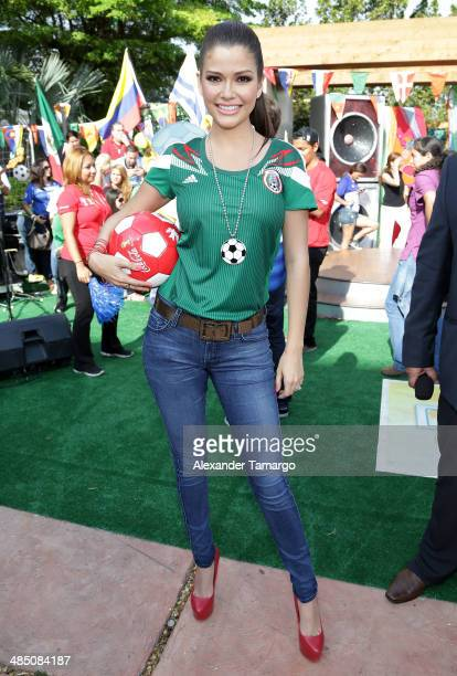 Ana Patricia Gonzalez poses during FIFA World Cup Trophy Tour on the set of Despierta America at Univision Headquarters on April 16, 2014 in Miami,...