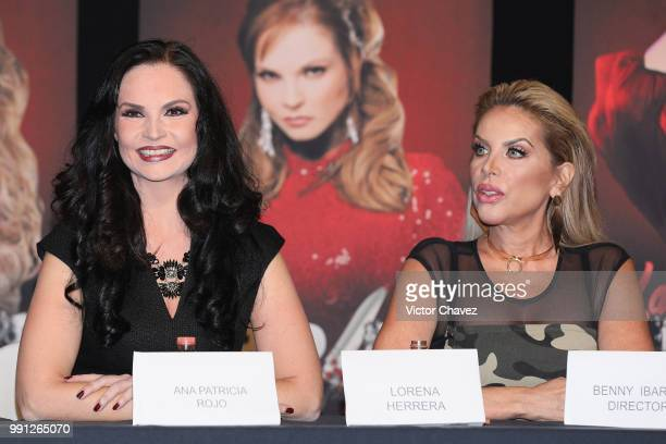 Ana Patricia Rojo and Lorena Herrera attend a press conference to promote the theater play 'Las Arpias' at El Telon de Asfalto on July 3 2018 in...