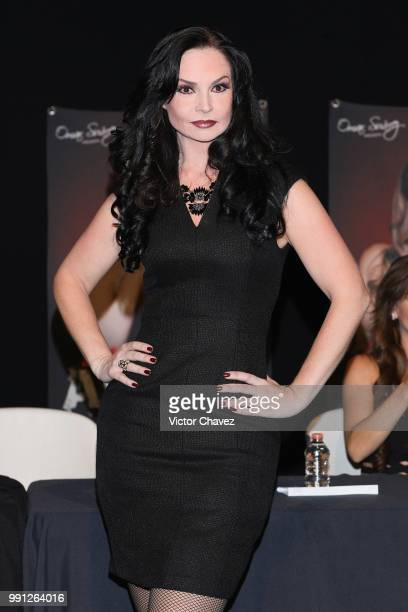 Ana Patricia Rojo attends a press conferenc to promote the theater play 'Las Arpias' at El Telon de Asfalto on July 3 2018 in Mexico City Mexico