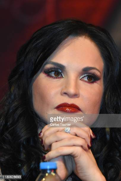 Ana Patricia Rojo speaks during the 'Arpias Recargadas' press conference at Teatro Silvia Pinal on February 18 2019 in Mexico City Mexico