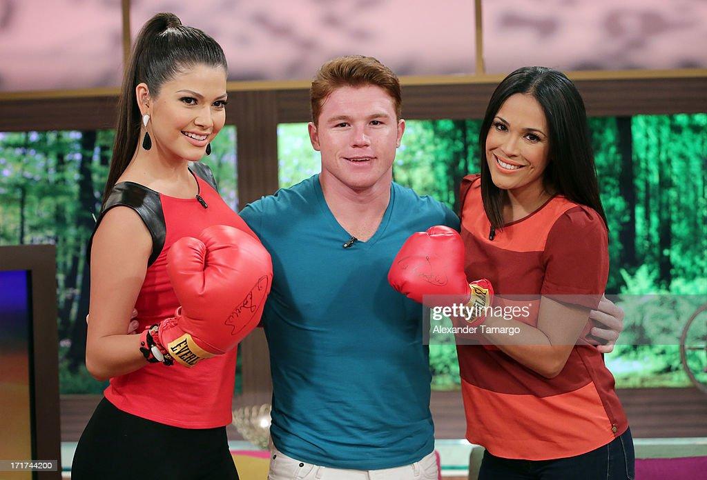 Ana Patricia, Saul 'Canelo' Alvarez and Karla Martinez appear on Univision's 'Despierta America' morning show at Univision Headquarters on June 28, 2013 in Miami, Florida.