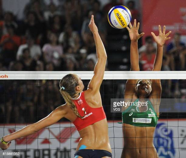 Ana Patricia Silva Ramos of Brazil competes in the women's final match against Nadezda Makroguzova of Russia during the 2017 FIVB Beach Volleyball...