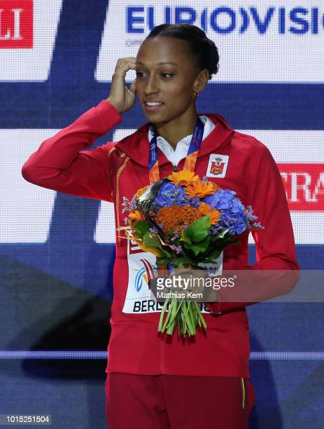 Ana Peleteiro of Spain bronze poses with her medal for the Women's Triple Jump during day five of the 24th European Athletics Championships at...