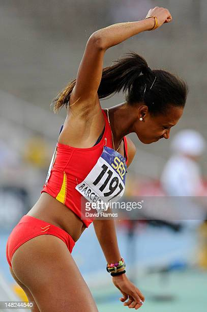 Ana Peleteiro of Spain celebrates after winning the gold medal during the Women's Triple Jump Final on the day three of the 14th IAAF World Junior...