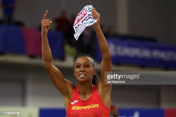 Ana Peleteiro of Spain celebrates winning gold during the final of the women's triple jump on day three of the 2019 European Athletics Indoor...