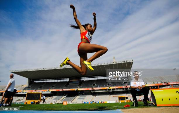 Ana Peleteiro of Spain competes during the Women's Triple Jump qualification round on the day two of the 14th IAAF World Junior Championships at...