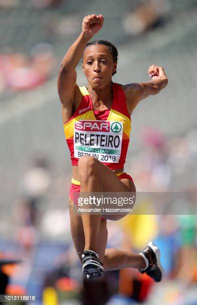 Ana Peleteiro of Spain competes in the Women's Triple Jump qualification during day two of the 24th European Athletics Championships at...