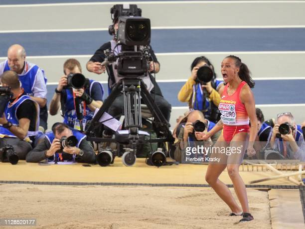 Ana Peleteiro of Spain competes in the women's triple jump event on March 3 2019 in Glasgow United Kingdom