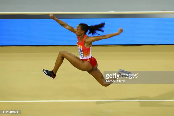 Ana Peleteiro of Spain in action during the final of the women's triple jump on day three of the 2019 European Athletics Indoor Championships at...