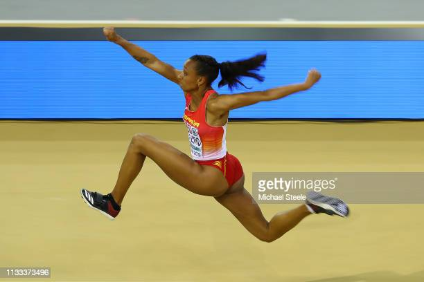 Ana Peleteiro of Spain on her way to winning gold in the women's triple jump final during day three of the 2019 European Athletics Indoor...