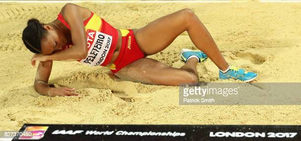 Ana Peleteiro of Spain reacts as she competes in the Women's Triple Jump final during day four of the 16th IAAF World Athletics Championships London...