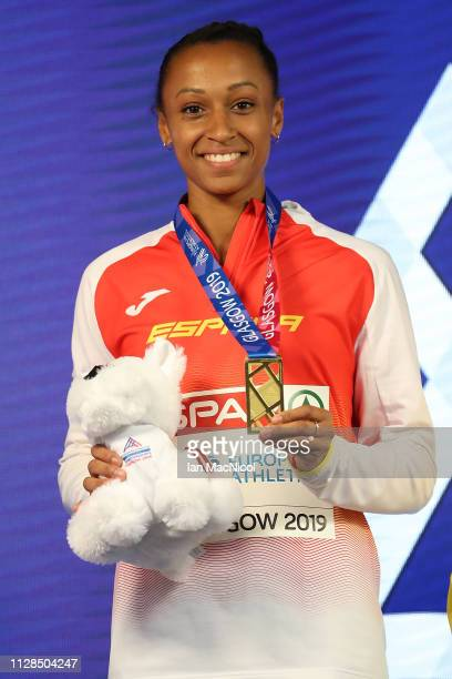 Ana Peleteiro of Spain with her gold medal during the medal ceremony for the women's triple jump on day three of the 2019 European Athletics Indoor...