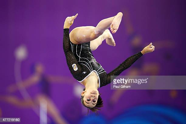Ana Perez Campos of Spain competes on the beam in the Women's Team Final and Individual Qualification during day three of the Baku 2015 European...