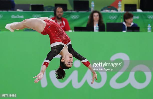 Ana Perez of Spain performs on the balance beam during the artistic gymnastics women's qualification at the 2016 Summer Olympics in Rio de Janeiro on...