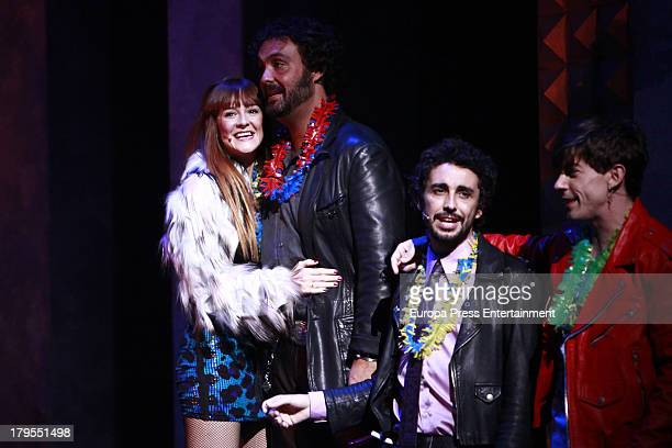 Ana Polvorosa Alejandro Vega Canco Rodriguez and Adrian Lastra dance during rehearsals for the press during the presentation of the musical 'Hoy no...