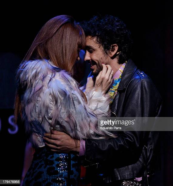 Ana Polvorosa and Canco Rodriguez dance during rehearsals for the press during the presentation of the musical 'Hoy no me puedo levantar' at Coliseum...