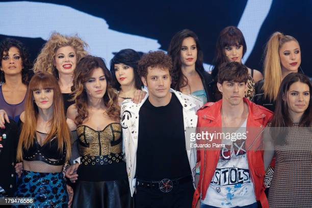 Ana Polvorosa Andrea Guasch Daniel Diges Adrian Lastra and Claudia Traisac pose during rehearsals for the press during the presentation of the...