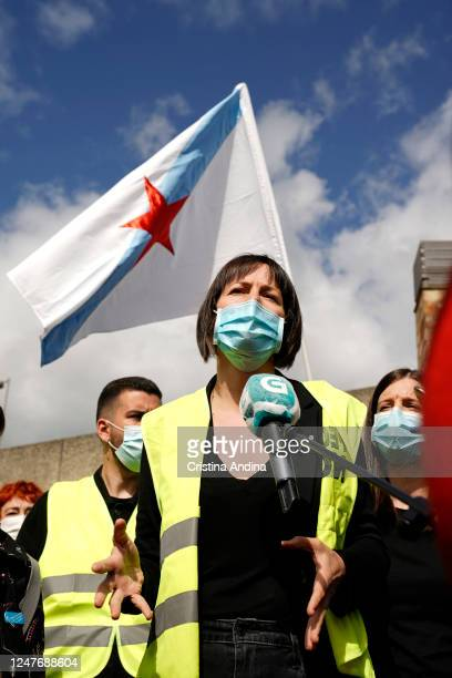 Ana Pontón, spokesperson for BNG, supporting Alcoa workers speaks to media on June 7, 2020 in Viveiro, Lugo, Spain. Alcoa workers are once again...