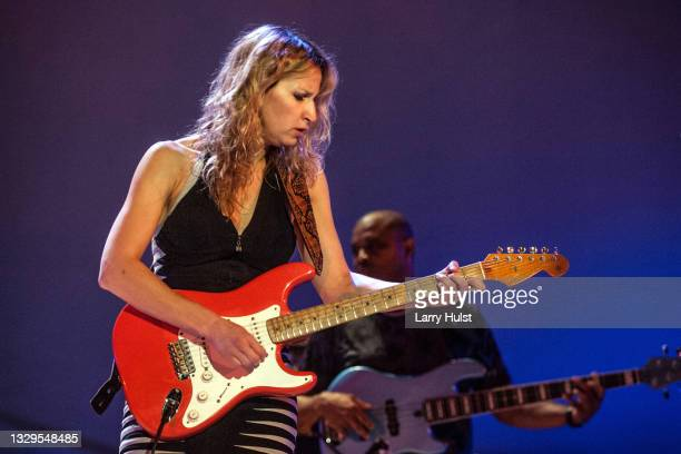 Ana Popovic and Carlton Armstrong are performing with her band at the Stargazers Theater in Colorado Springs, Colorado on August 21, 2015.