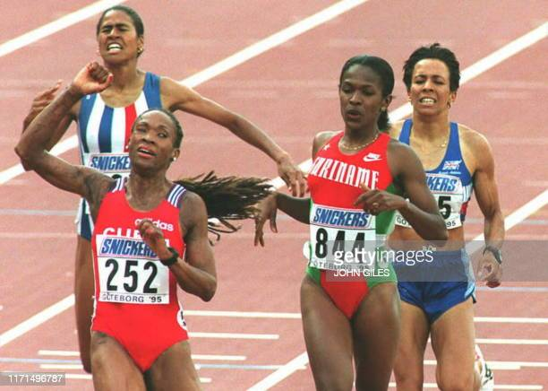 Ana Quirot of Cuba wins the Womens 800m as Great Britain's Kelly Holmes battles on for a bronze medal in the World Athletics Championships 13 August...