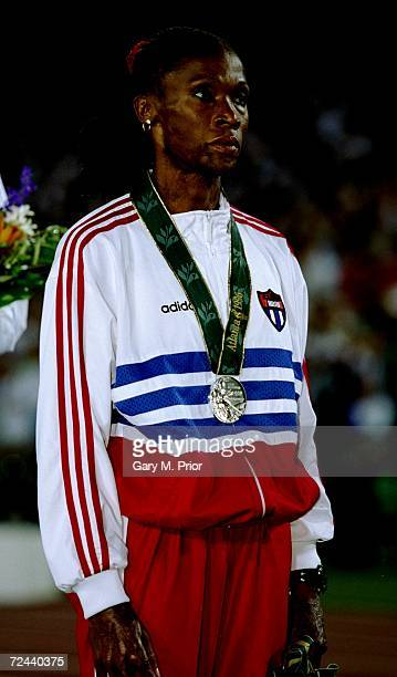 Ana Quirot of Cuba with silver medal for the womens 800 metres on the podium in the Olympic Stadium at the 1996 Centennial Olympic Games in Atlanta...